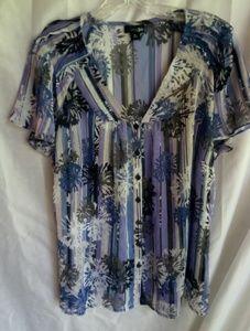 East 5th Blue Creme Striped Blouse Sz XL Plus